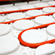 radiant floor heating tube red pipe curved circle pattern